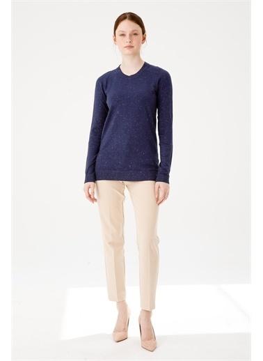 Desen Triko Kadın Sımlı Basıc Sıfır Yaka Bluz Sıyah Lacivert